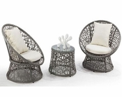 Contemporary Three-Piece Outdoor Rattan Seating Set 44PH77
