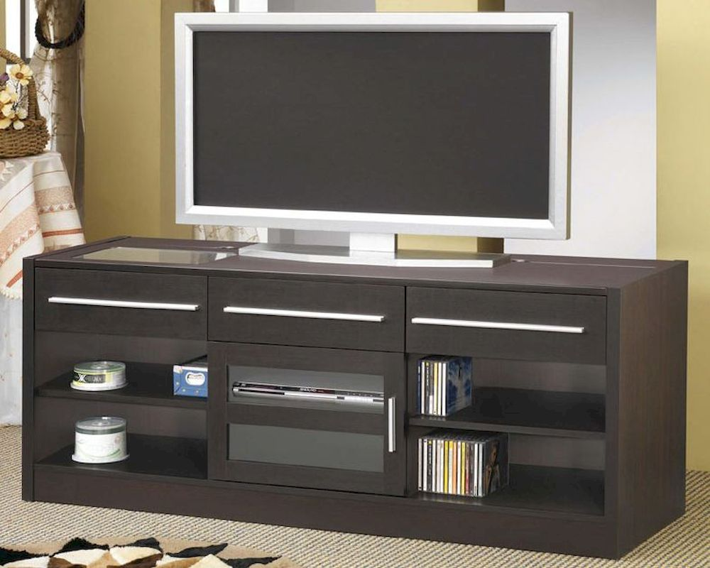 Contemporary Cappuccino Connect It Computer: Contemporary TV Console With CONNECT-IT Power Drawer CO700650