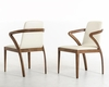 Contemporary Walnut and Cream Dining Chair 44D13068 (Set of 2)