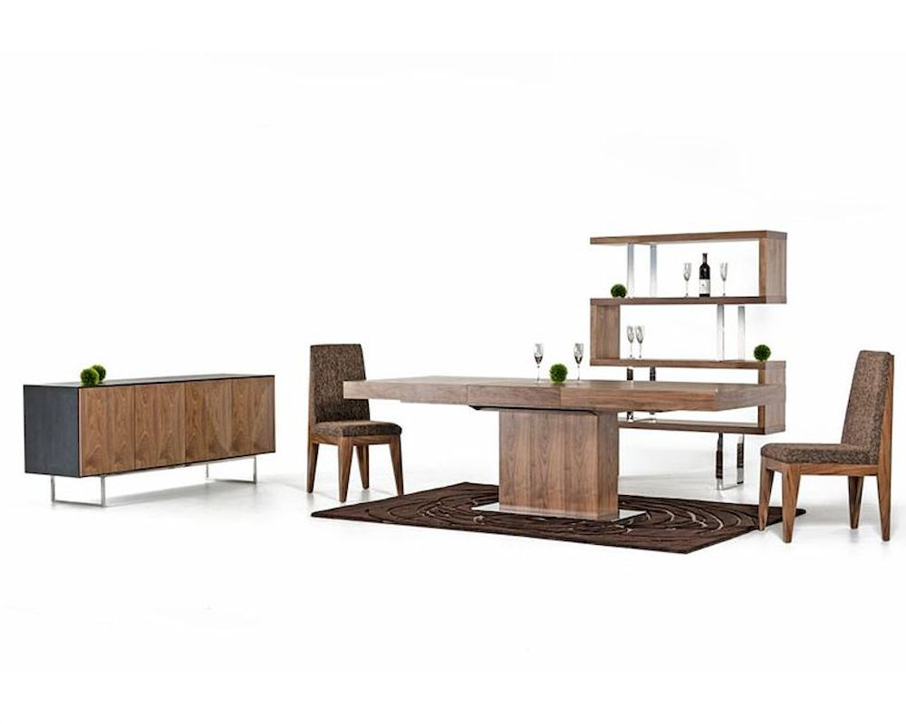 Contemporary Walnut Dining Set W Extendable Table 44d520w Set