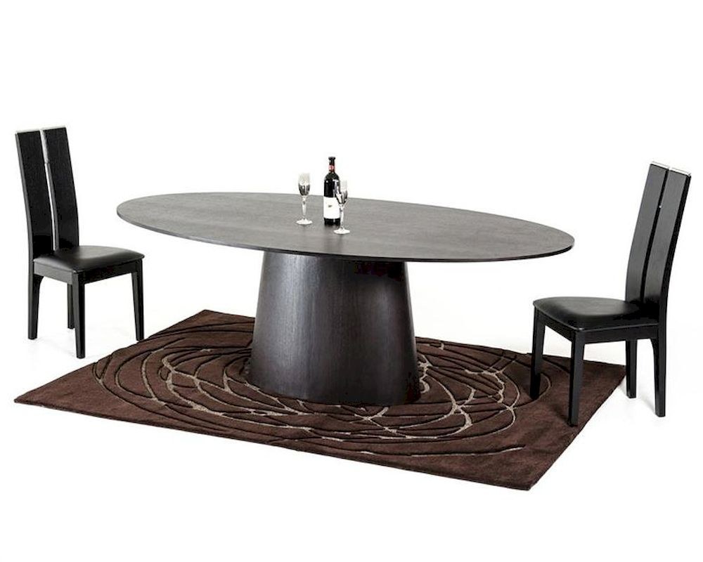 Contemporary wenge dining set w oval dining table 44d510 set for Contemporary dining set