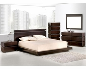 Contemporary Wenge Finish Bedroom Set 44B187SET