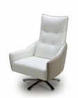 Contemporary White and Taupe Leather Lounge Chair 44LG883
