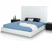 Contemporary White Eco-Leather Bed 44B148BD