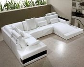 Contemporary White Leather Sectional Sofa Set 44L0692HL