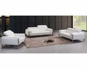 Contemporary White Leather Sofa Set 44L5977