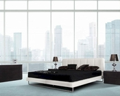 Contemporary White Leatherette Bed 44B133BD