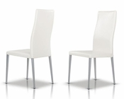 Contemporary White Leatherette Dining Chair 44D616-1CH (Set of 2)