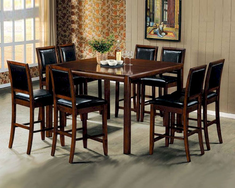Contemporary counter height dining room set in walnut for Counter height dining room sets