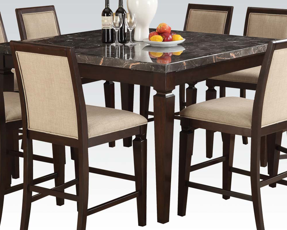 counter height set w black marble top table agatha by acme ac72485set. Black Bedroom Furniture Sets. Home Design Ideas