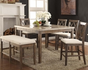 Counter Height Set w/ Marble Top Table Claudia by Acme AC71720SET
