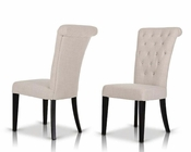 Cream Fabric Chair w/ Crystals 44DY616 (Set of 2)