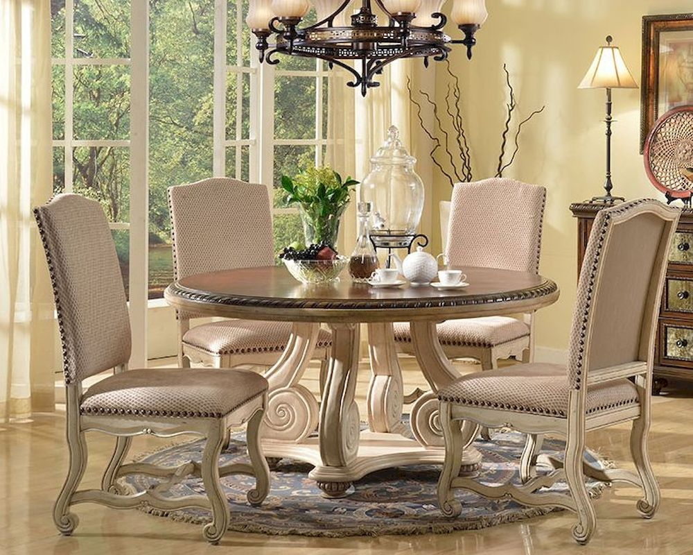 cream finish dining set w round table by mcf furnishings