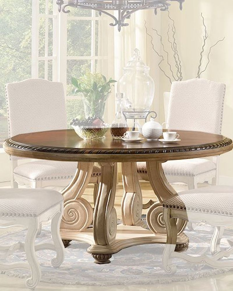 cream finish round dining table by mcf furnishings mcfd9801 rt
