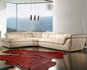 Cream Leather Sectional Sofa Set 44L397