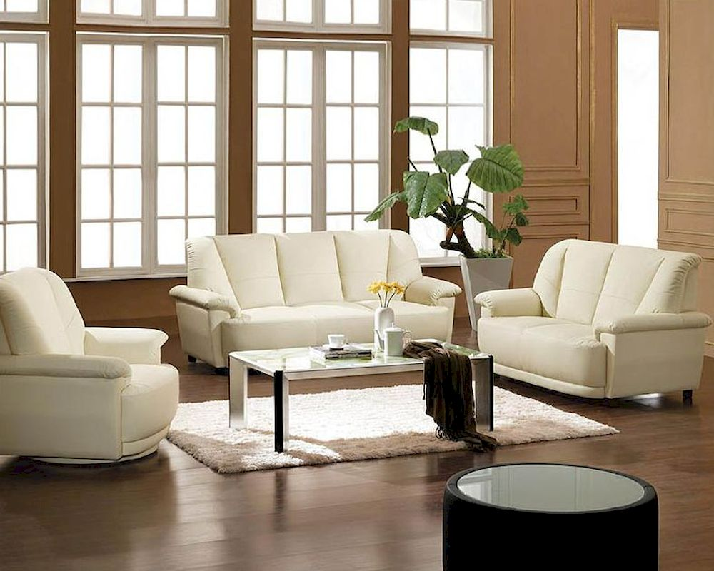 Cream White Bonded Leather Sofa Set 44l2828