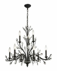 ELK Crystal Branches 9 Light Chandelier in Burnt Bronze EK-11776-6-3
