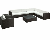 Define Outdoor Sectional Set in Espresso White by Modway MY-EEI850EW