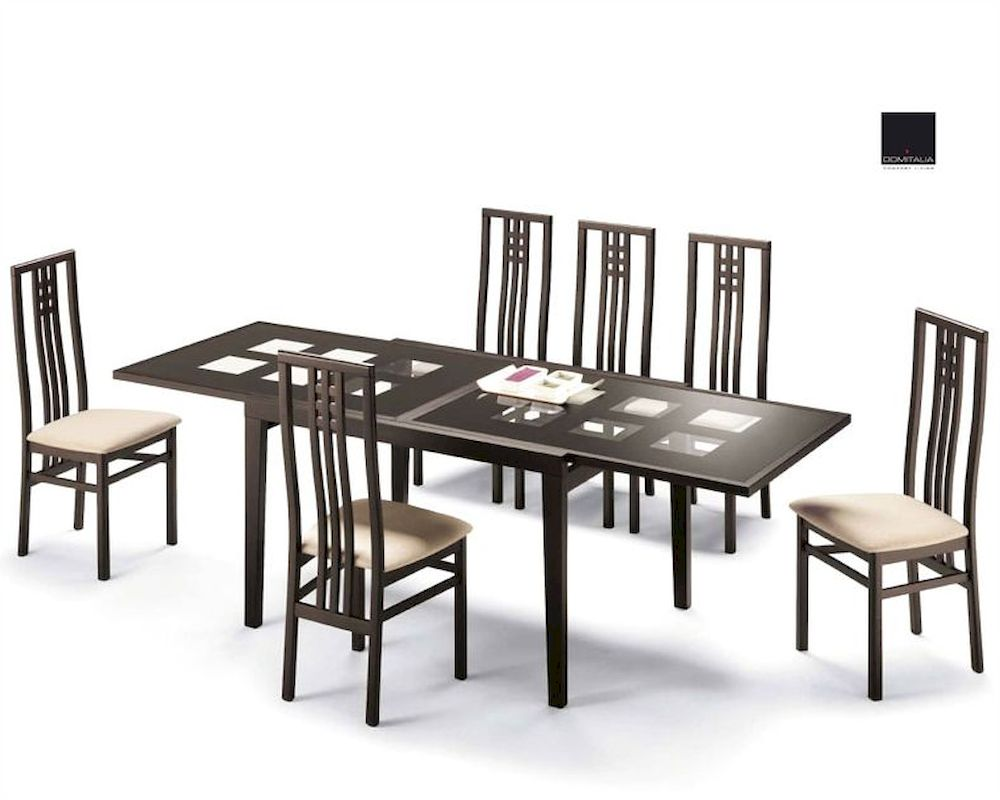 Dining set paloma cappuccino w glass top table italy 33d101 for Glass dining set