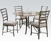 Dining Set Val w/ Marble Top Table by Acme Furniture AC70057SQWH-SET