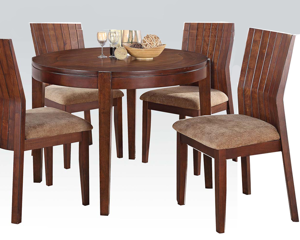 Dining set w 42in round table mauro by acme ac70542set for Dinette furniture