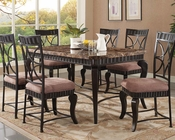 Dining Set w/ Brown Marble Top Table Galiana by Acme AC18289SET