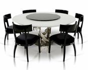 Dining Set w/ Crocodile Lacquered Table w/ Lazy Susan 44D833-180-SET