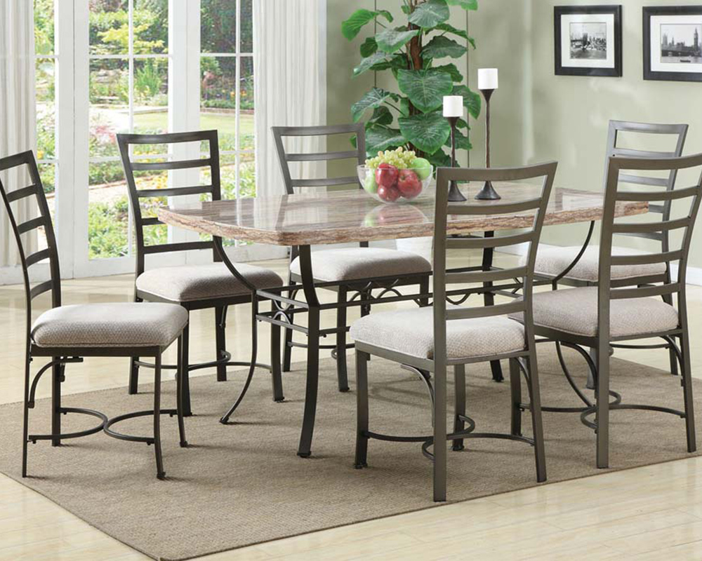 Dining set w faux marble top table val by acme furniture for Best dinette sets