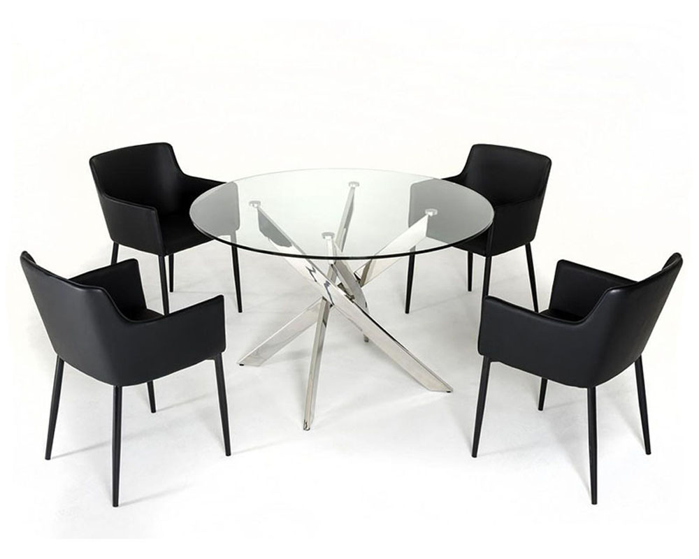 Dining set w glass circular table in contemporary style 44dt07 set - Glass circular dining table ...