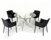 Dining Set w/ Glass Circular Table in Contemporary Style 44DT07-SET
