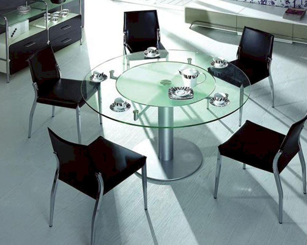 Dining set w glass round table 44dt50 set for Glass top dining table next