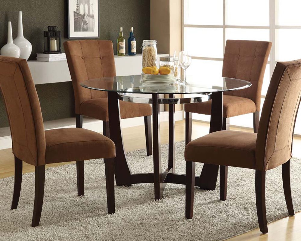Dining set w glass round table baldwin by acme furniture for Glass dining table set