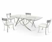 Dining Set w/ Modern Glass Table 44DCT1201-SET