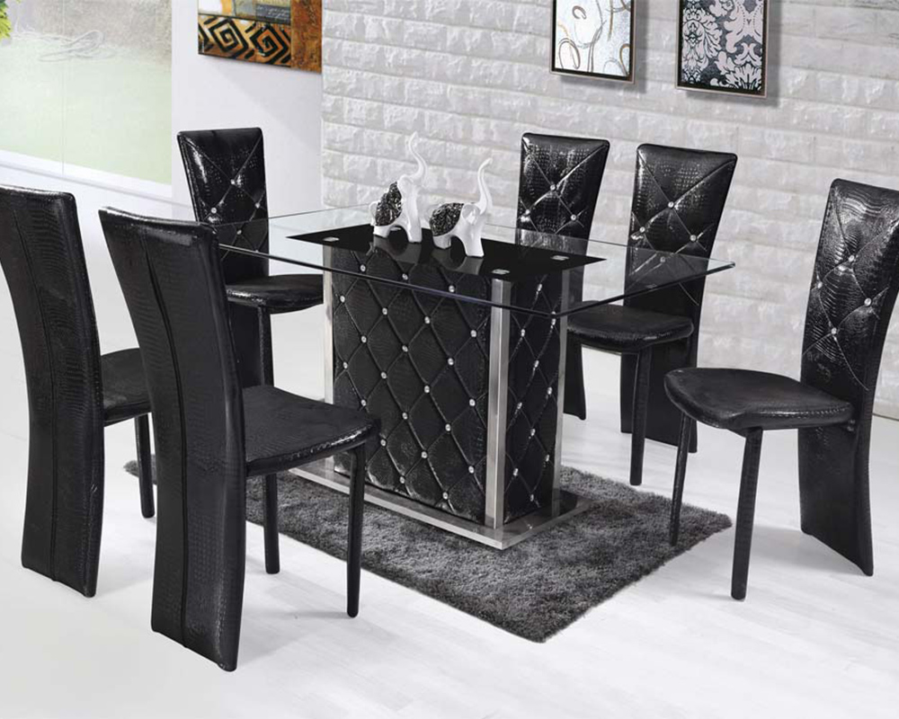 Dining set w rectangular glass top table nancy by acme for Glass top dining table sets