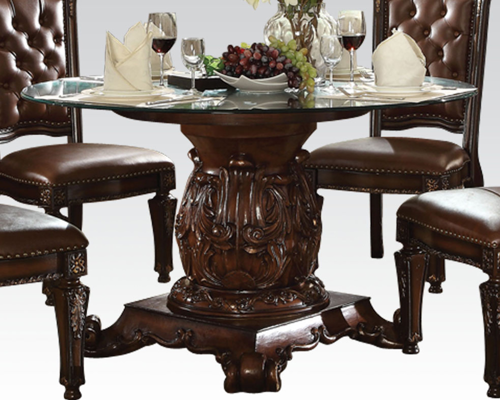 Dining set w round glass table vendome cherry by acme for Round glass dining table set