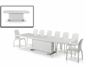 "Dining Set w/ ""T""-Shape White Table in Modern Style 44D567XT-2SET"