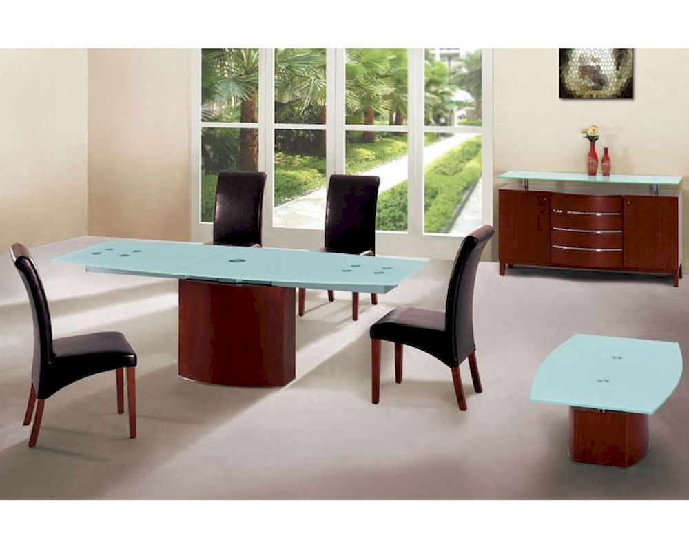 Dining set with frosted glass top table european design 33d361 for Glass top dining table next