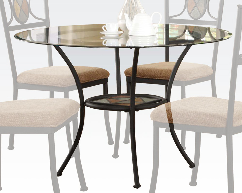 Dining table w clear glass top desi by acme furniture ac70365 for Glass top dining table next