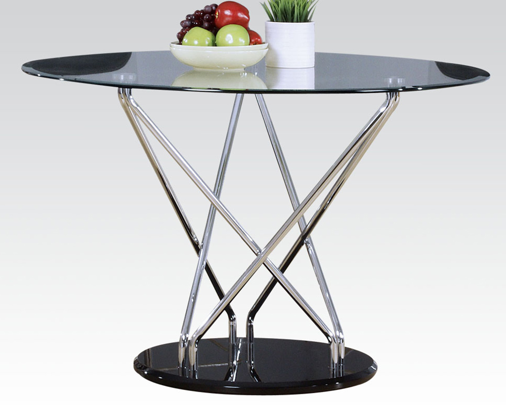 Dining table w clear glass top ronli by acme furniture for Glass top dining table next