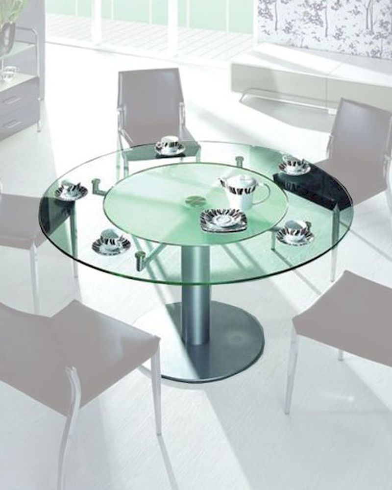 Dining table w frosted glass lazy suzan 44dt50 - Frosted glass dining tables ...