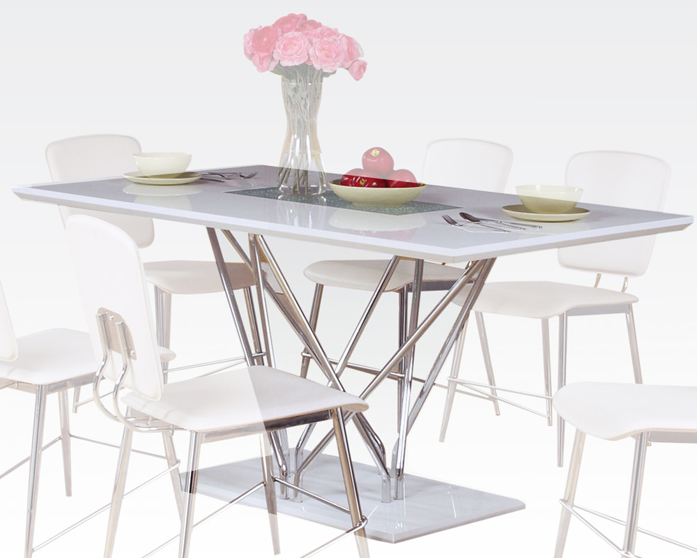 Dining table w glass insert bari by acme furniture ac70910 for Kitchen table with glass insert