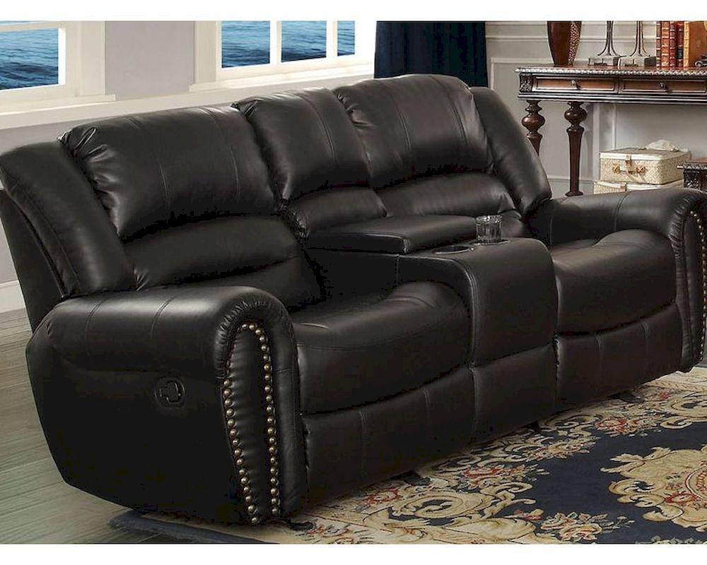 Double Glider Reclining Loveseat Center Hill By Homelegance El 9668blk 2