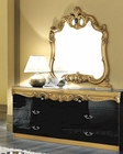 Dresser and Mirror Black Baroque Classic Style Made in Italy 33B434
