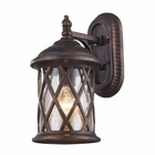 ELK 1 Light Outdoor Sconce in Hazlenut Bronze and Designer Water Glass EK-42035-1