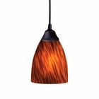 ELK 1 Light Pendant in Dark Rust and Espresso Glass EK-406-1ES