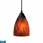 ELK 1 Light Pendant in Dark Rust and Espresso Glass - Led EK-406-1ES-LED
