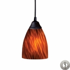 ELK 1 Light Pendant in Dark Rust and Espresso Glass With Adapter Kit EK-406-1ES-LA