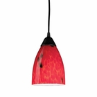 ELK 1 Light Pendant in Dark Rust and Fire Red Glass EK-406-1FR