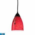 ELK 1 Light Pendant in Dark Rust and Fire Red Glass - Led EK-406-1FR-LED