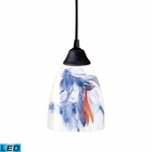 ELK 1 Light Pendant in Dark Rust and Mountain Glass - Led EK-406-1MT-LED